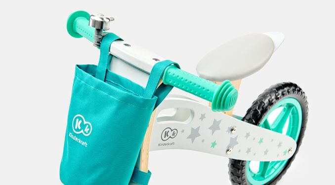 Balans bicikl bez pedala Kindekraft Runner STARS, torbica na volanu