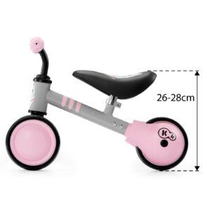 Kinderkraft CUTIE pink balans bicikl bez pedala, dimenzije