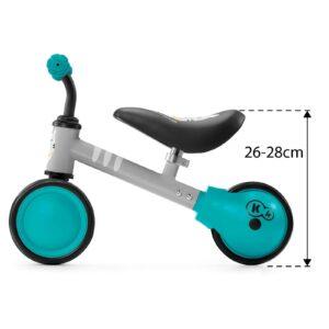 Kinderkraft CUTIE turquoise balans bicikl bez pedala, dimenzije