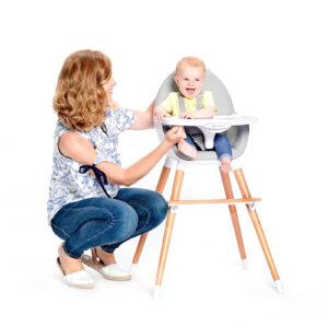 Kinderkraft FINI hranilica za bebe, bela, stolica za hranjenje