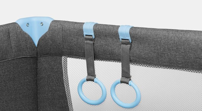 Kinderkraft JOY blue prenosivi krevetac, ručke za ustajanje