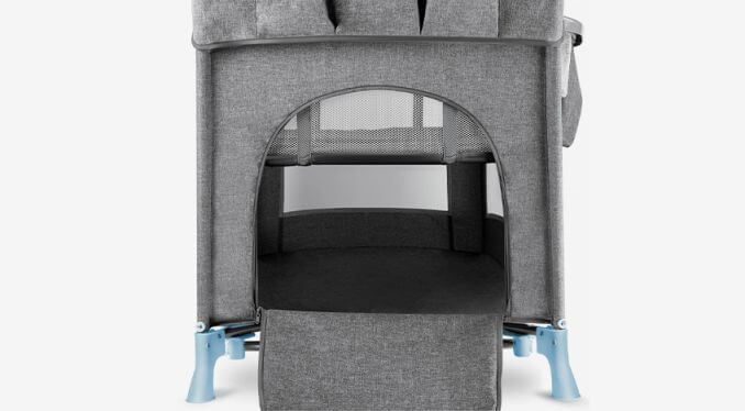 Kinderkraft JOY blue prenosivi krevetac, bočni otvor