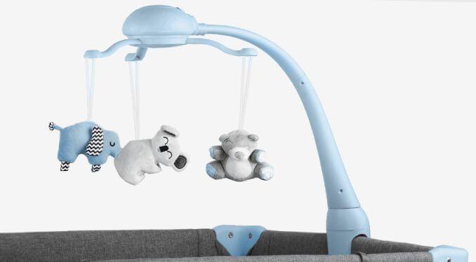 Kinderkraft JOY blue prenosivi krevetac, igračke