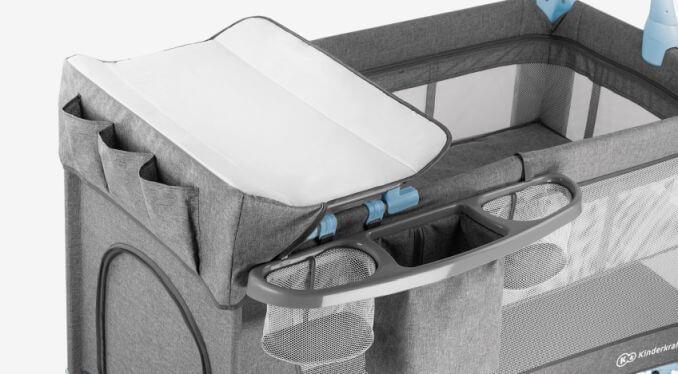 Kinderkraft JOY blue prenosivi krevetac, pult za presvlačenje beba