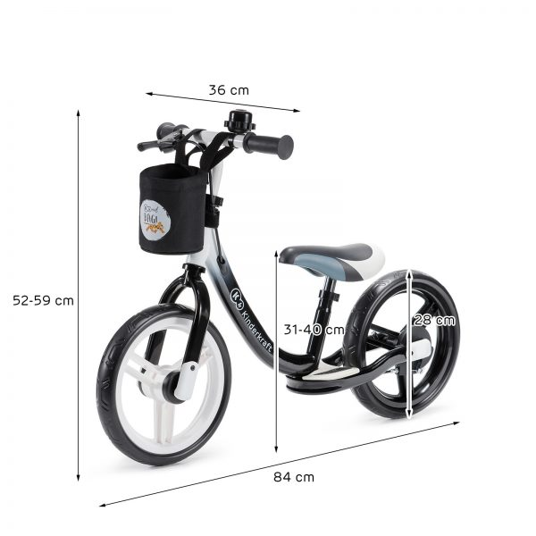Kinderkraft SPACE black dečiji bicikl guralica dimenzije