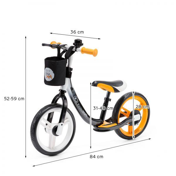 Kinderkraft SPACE orange dečiji bicikl guralica dimenzije