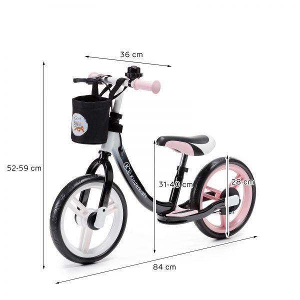Kinderkraft SPACE pink dečiji bicikl guralica dimenzije