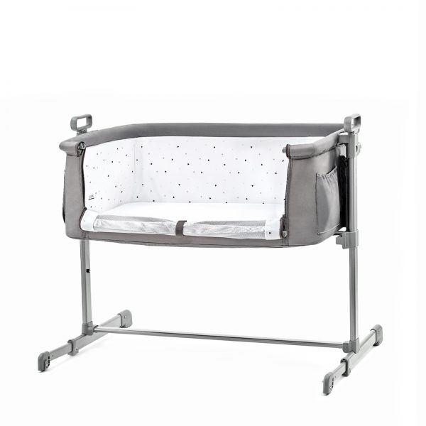 Kinderkraft kolevka krevetac NESTE svetlo siva, spuštena ogradica