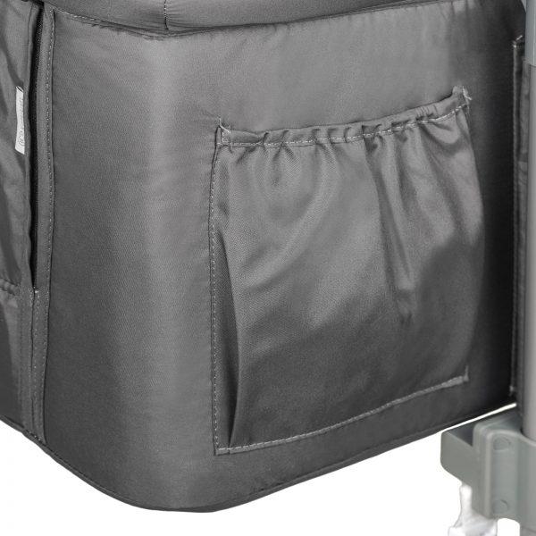 Kinderkraft kolevka krevetac NESTE tamno siva, džep za sitnice