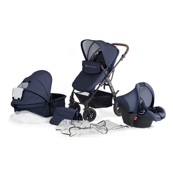 Kinderkraft kolica za bebe 3 u 1 MOOV mornarička plava, set 3 u 1