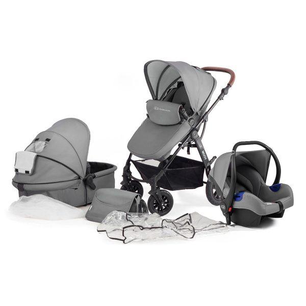 Kinderkraft kolica za bebe 3 u 1 MOOV siva, set 3 u 1