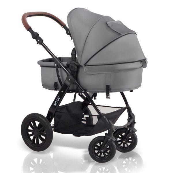 Kinderkraft kolica za bebe 3 u 1 MOOV siva, kolevka