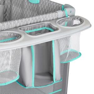 Kinderkraft prenosivi krevetac JOY sa dodacima, plavi, nosač za flašice