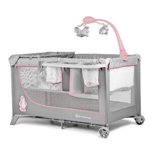 Kinderkraft prenosivi krevetac JOY sa dodacima, roze