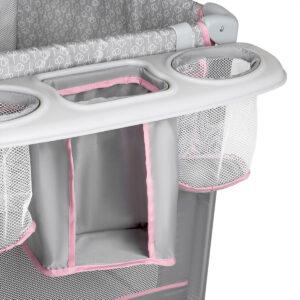 Kinderkraft prenosivi krevetac JOY sa dodacima, roze, nosač za flašice
