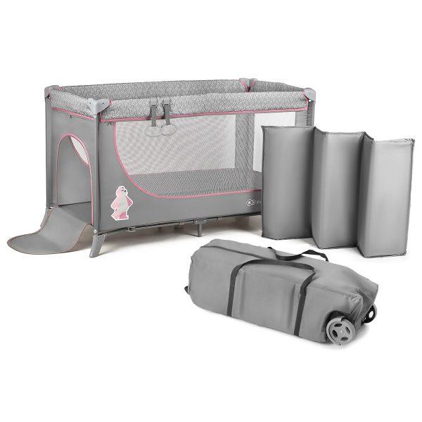 Kindekraft sklopivi prenosivi krevetac JOY, roze, sa torbom za nošenje
