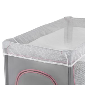 Kindekraft sklopivi prenosivi krevetac JOY, roze, mrežica protiv komaraca i buba