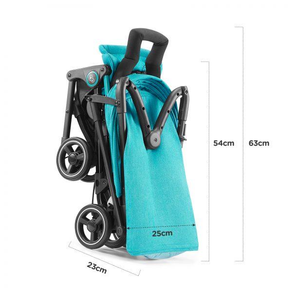 Kišobran kolica Kinderkraft MINI DOT turquoise, dimenzije sklopljenih kolica