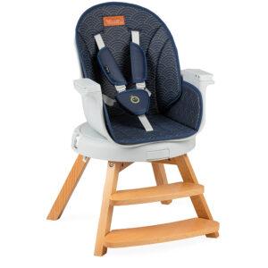 MoMi WOODY navy blue hranilica stolica za hranjenje
