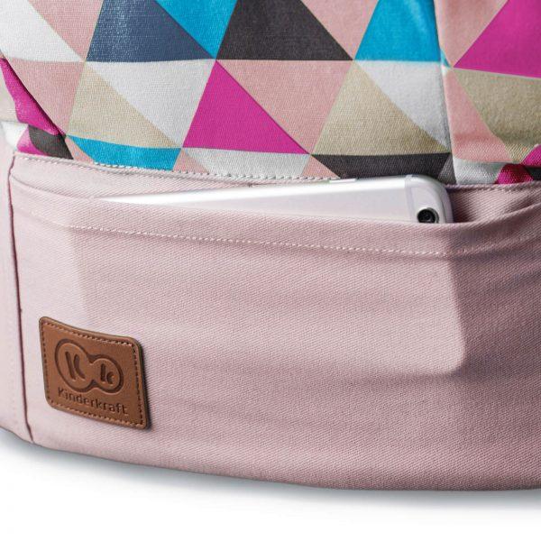 Kinderkraft kengur nosiljka NINO roze, prednji džep